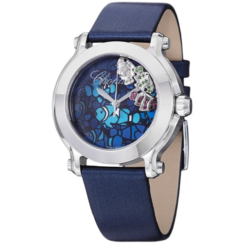 Chopard Happy Sport Floating Fish Ladies Blue Satin Leather Strap Watch 278475-3049