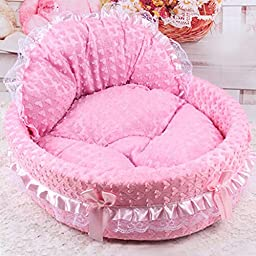 Qianle Lace Princess Dog Cat Kitten Puppy Pet Bed Sofa Cushion Pet House PinkL
