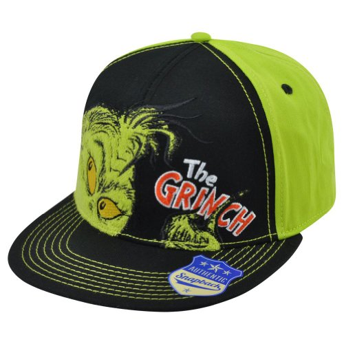 The Grinch Dr. Suess Adjustable Snapback Two Tone Black Green Flat Bill Hat Cap (Grinch Hat)