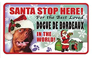 Santa Stop Here Pet Sign - Dogue De Bordeaux