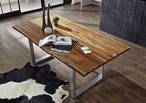 Table à manger 160x100cm – Fer et bois massif d'acacia laqué (Noisette) - FREEFORM 2 #01