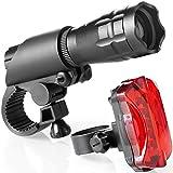 Fahrradlampen Set - Superhelle LED-Lampen fürs Fahrrad - Einfach zu montierende Vorder- und Rücklampe mit Schnellverschluss-System - Beste Front- und Rückbeleuchtung - Passend für alle Räder - 200 Lumen
