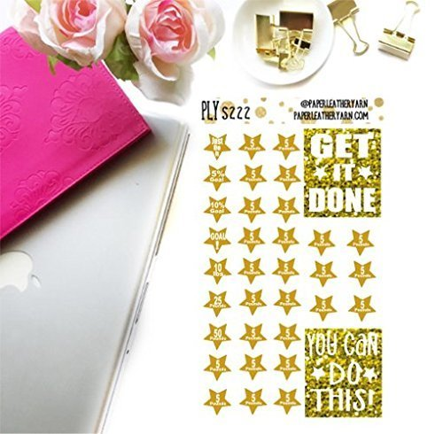 S223 - Weight Loss Goal Stars - Gold (35 Stickers) | Erin Condren | Inkwell Press | Happy Planner