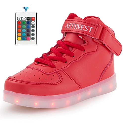 AFFINEST LED Light Up Shoes High Top Fashion Sneakers For Kids Boys Girls(US10 Little Kid,Red)