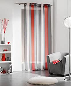 Amazon com striped sheer grommet curtain panels riviera red 55 quot w x 95