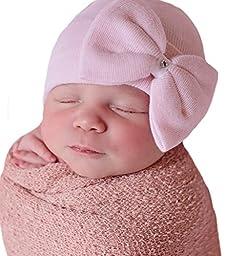 Melondipity Girls Newborn Pink Big Bow with Gem Hospital Baby Hat - Handmade in USA