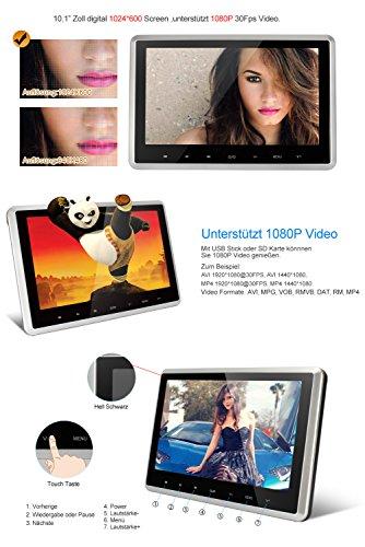 NAVISKAUTO-Universal-Tragbar-101-Zoll-HD-Kopfsttzenmonitor-Kopfsttze-Auto-Monitor-Touch-Taste-Ultra-Dnn-TFT-LCD-Bildschirm-FM-Untersttzt-1080P-30Fps-Video-HDMI-Funktion-USB-Stick-SD-Karte-Fernbedienun