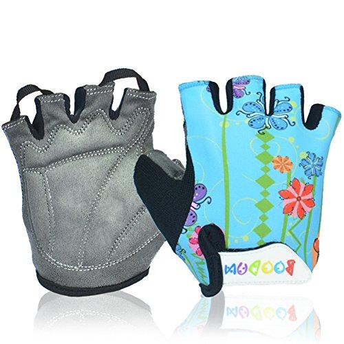Mifulgoo Boy Girl Child Children Kid Lycra Padded Half Finger Fingerless Short Gloves Mitt Mitten for Cycling MTB Exercise Skate Skateboard Roller Skating (Blue Flower, L) (Cycling Shorts Kids compare prices)