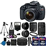 Canon EOS Rebel T5 Digital SLR + canon EF-S 18-55mm f 3.5-5.6 IS & EF 75-300mm f 4-5.6 III Lens + 58mm 2x Lens + Wide Angle Lens + Auto Power Flash + UV Filter Kit + 24GB SDHC card + Accessory Bundle