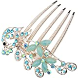 niceeshop(TM) Retro Vintage Fashion Antique Bronze Colorfull Rhinestone Elegant Peacock Tuck Comb Hair Clip