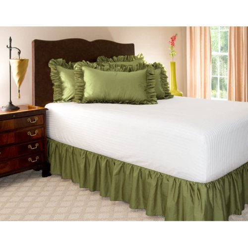 "Full Sage Ruffled Bed Skirt With 14"" Drop front-950795"