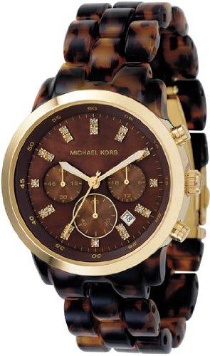 Women Watch Michael Kors Mk5216 Marbled Plastic Link Bracelet Gold Tone Quartz W