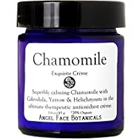 Chamomile Exquisite Organic Facial Cream with Antioxidants - Calms Redness and Irritation - Vegan and Paraben Free 1.1 oz by Angel Face Botanicals