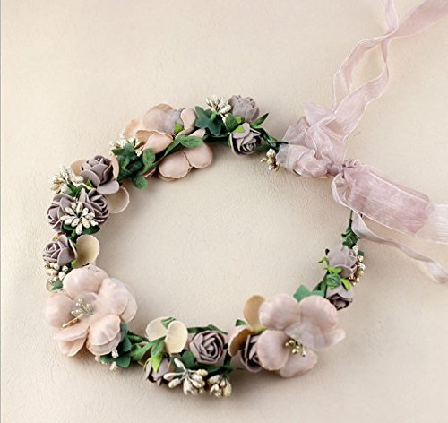 Flower Crown/Wedding Hair Wreath Floral Headband Garland with Adjustable Ribbon for Wedding Festivals Brown