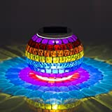 New Arrival Solar Powered Mosaic Glass Color Changing Rainbow LED Light , Rechargeable/ Waterproof Flameless Night Light for Indoor or Outdoor Decorations. Sunshine Magic Ball as Great Gift for Any Festival. (Rainbow)