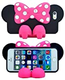 3d Cute Minnie Bow Silicone Case with Bracket for Iphone 5 5s (Pink)