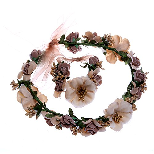 Anleolife Wedding Hair Flowers Hairband/Flower Garland Hairbands Bridal Bouquets Floral Headpiece Boho Style Floral Flower Women Girls Hairband Headbands Hand Wrist Flower Festival Party Wedding 2pcs/lot Floral Garland Hair Band Hand Ring Hair Accessories