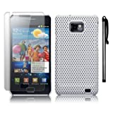 SAMSUNG GALAXY S2 WHITE MESH HARD CASE / COVER / SHELL + SCREEN PROTECTOR + STYLUS PART OF THE QUBITS ACCESSORIES RANGEby Qubits