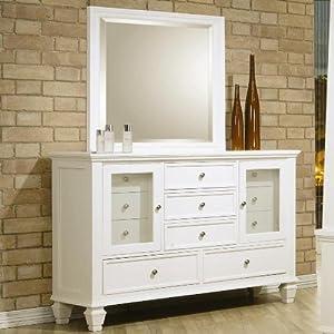 sandy beach white dresser and mirror set coaster 201303set kitchen dining. Black Bedroom Furniture Sets. Home Design Ideas