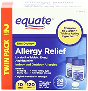 Equate - Allergy Relief, Loratadine 10 mg, 120 Tablets (Compare to Claritin)