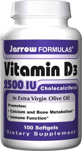 Jarrow Formulas Vitamin D3, 2500IU, 100 Softgels (Pack of 2)