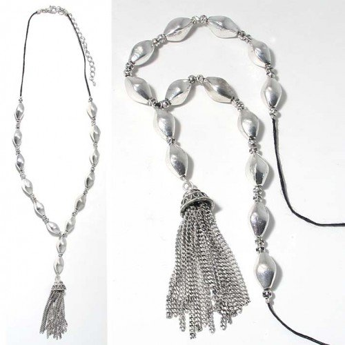 SG Paris Necklace 44cm+Ext Antic Silver Argente Necklace Necklace Metal Summer Women Ethno Glam Fashion Jewelry / Hair Accessories Fringe and Tassel