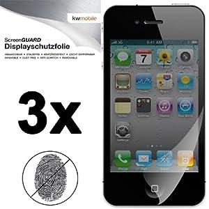 3x Displayschutzfolie mit ANTI-FINGERABDRUCK Effekt matt für Apple iPhone 4 / 4S von kwmobile