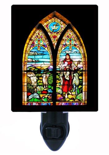 Religious Night Light - Stained Glass Good Shepherd - Church Led Night Light front-1001137