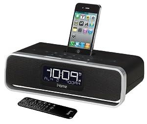 iHome iA92BZ App-enhanced Dual Alarm Stereo Clock Radio for iPhone/iPod with AM/FM presets