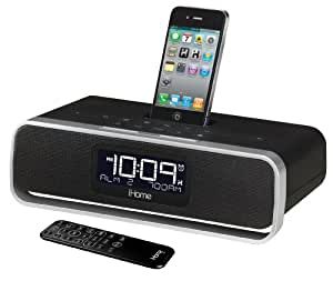 ihome ia92bz app enhanced dual alarm stereo clock radio for iphone ipod with am fm. Black Bedroom Furniture Sets. Home Design Ideas
