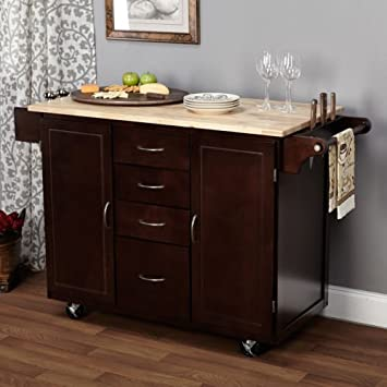 Unique Kitchen Cart Island on Wheels Espresso