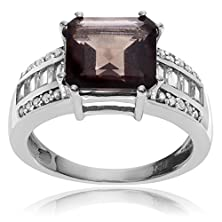 buy Rhodium-Plated Sterling Silver Square Smoky Topaz Ring