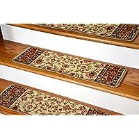 Dean Non-Slip Pet Friendly Carpet Stair Step Cover Treads - Classic Keshan Ivory Mocha 31