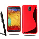 Samsung Galaxy Note 3 N9000 N9005 Grip Wave S Line Silicone Case Cover + Screen Protector + Stylus (Red)