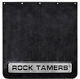 "Rock Tamers 2"" Hub Mudflap System Matte Black/Stainless Steel Trim Plates"