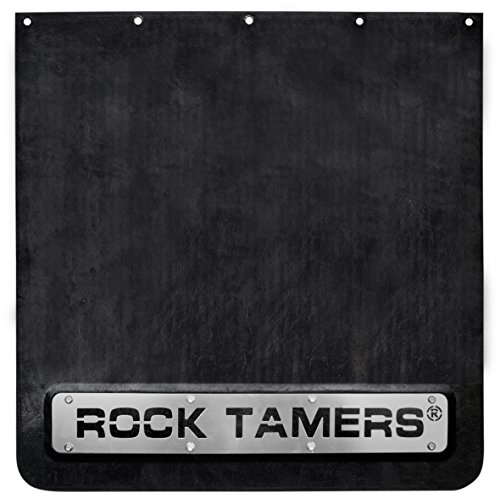 "Rock Tamers 2"" Hub Mudflap System Matte Black/Stainless Steel Trim Plates primary"