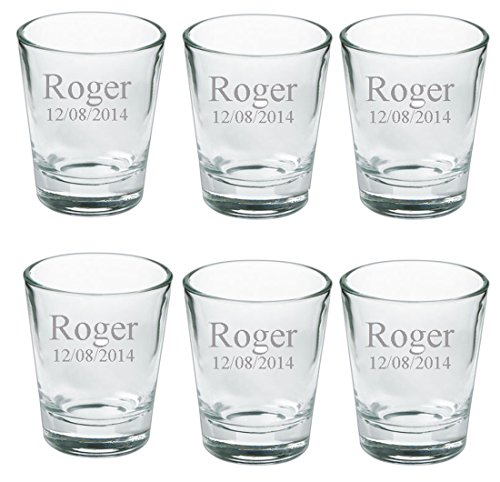 Personalized Set of 6 SHot Glasses Free Engraving Groomsman and Bridesmaid Gift..
