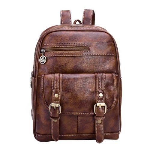 I9Q donne Vintage borsa a tracolla di cuoio casuale solido di colore Student Zaino