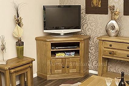 Solid Oak Corner TV Unit with Storage Cupboard   Cabinet   Stand   HFL.CO.UKDan023