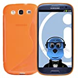 ITALKonline Samsung i9300i Galaxy S3 Neo III Orange TPU S Line Wave Hybrid Gel Skin Case Protective Jelly Cover