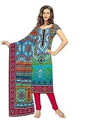 BalajiWomen's Crepe Unstitched dress material(201-multicolor-free size)