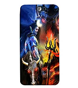 Blue Throat Shiv Bhole Effect Printed Designer Back Cover/ Case For HTC One A9