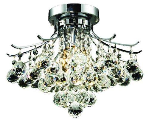 Elegant Lighting 8000F16C/Rc Toureg 12-Inch High 3-Light Flush Mount, Chrome Finish With Crystal (Clear) Royal Cut Rc Crystal front-939051