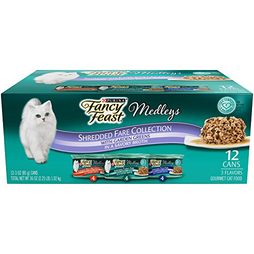 Purina Fancy Feast Wet Cat Food, Elegant Medleys, Shredded Fare Collection with Garden Greens, 3-Ounce Can, Pack of 12 (Pack of 2) (Fancy Feast Meat compare prices)
