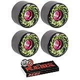 Santa Cruz Skateboards 60mm Slimeballs OG Slime Longboard Skateboard Wheels with Bones Bearings - 8mm Bones REDS Precision Skate Rated Skateboard Bearings - Bundle of 2 items (Color: Black)