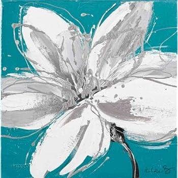 pas cher tableau motif fleur bleu et blanc toile 30 x 30 x 2 5 cm magasin fleur. Black Bedroom Furniture Sets. Home Design Ideas
