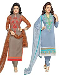 7thWonder Grey & Grey Colored Chanderi Cotton Party Wear Embroidery Combo Of 2 Salwar Suit-7W_2DL_181