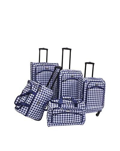 American Flyer 5-Piece Houndstooth Spinner Luggage Set, Blue