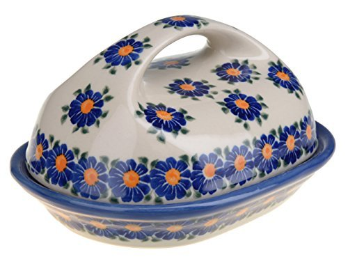 Classic Boleslawiec, Polish Pottery Hand Painted Stoneware, Ceramic Butter Dish with lid 331-U-018 (Hand Painted Dishes compare prices)