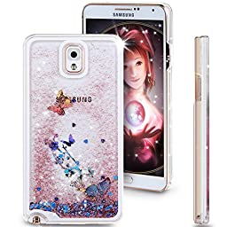 Galaxy Note 3 Case, ikasus Galaxy Note 3 [Liquid Bling] Case,Creative Design Flowing Liquid Floating Luxury Bling Glitter Sparkle Butterfly Hard Case for Samsung Galaxy Note 3(Butterfly:Pink)